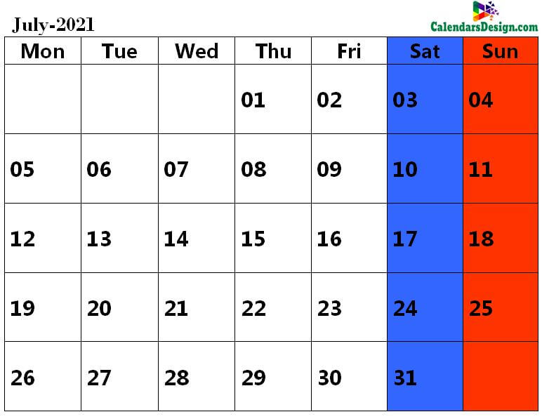 July 2021 calendar pdf download
