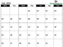 July 2021 calendar pdf to print