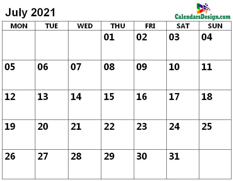July 2021 calendar with large space