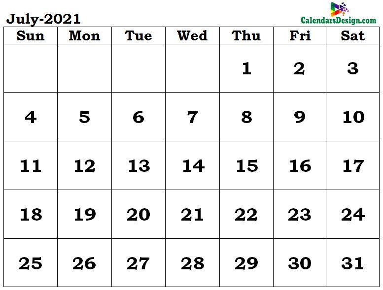 July 2021 calendar word format