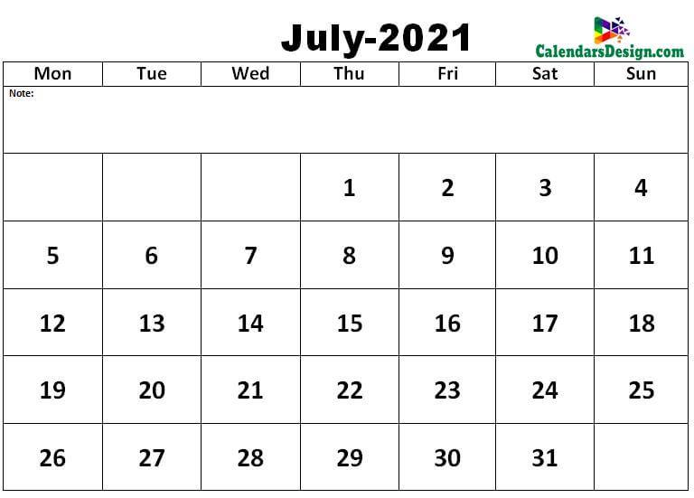 July 2021 excel calendar template