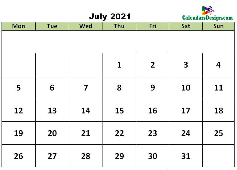 July 2021 excel template
