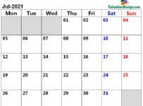 July 2021 page calendar
