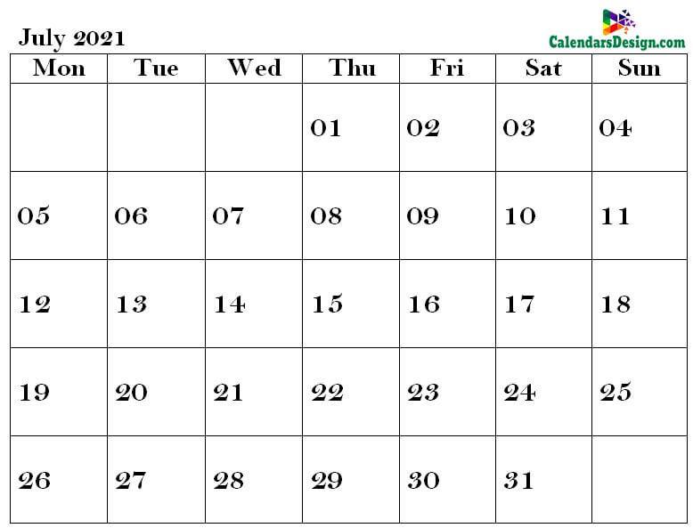 July Calendar 2021 PDF