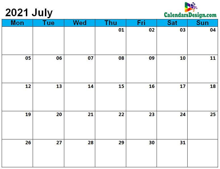July Calendar 2021 Page