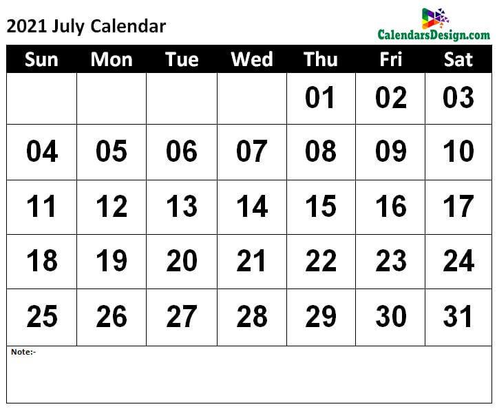 July Calendar 2021 Template