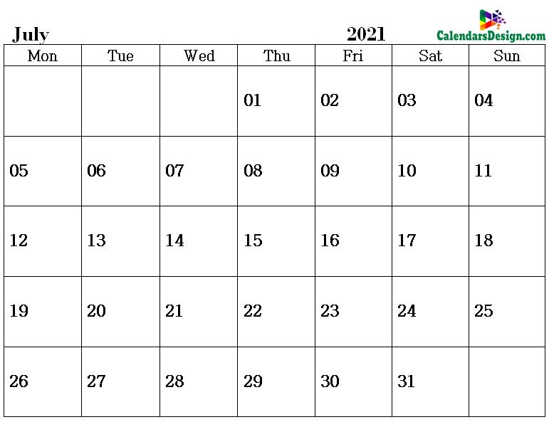 July Calendar 2021 Word Format