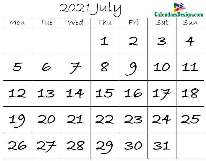 July Calendar 2021 in Excel Format