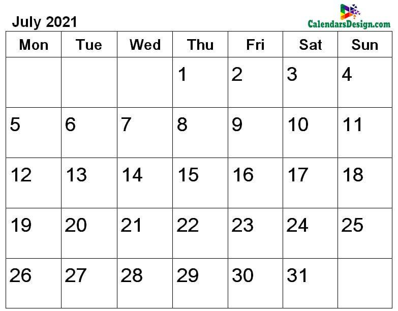 July calendar 2021 a4 page