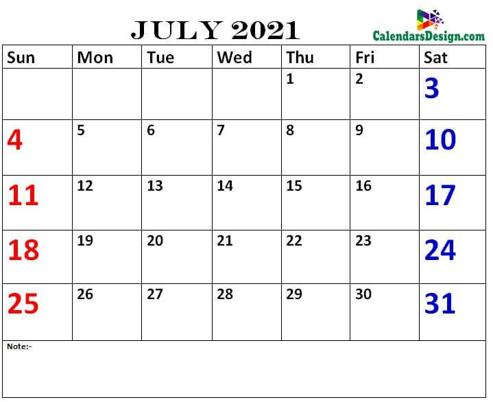 July calendar 2021 printable online