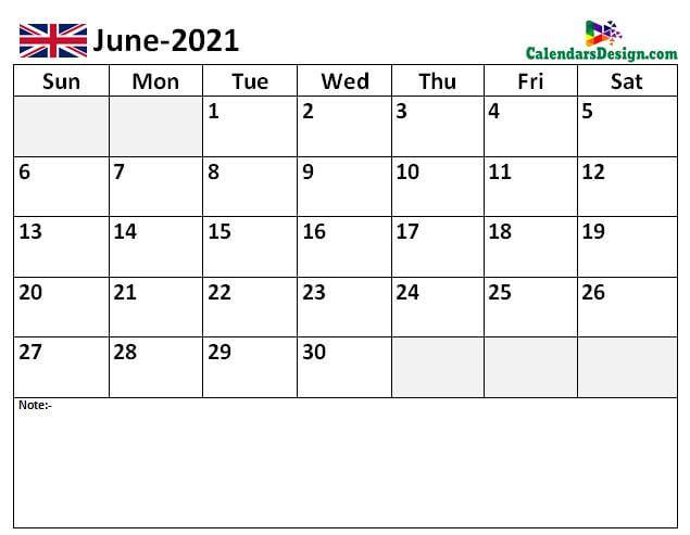 Jun 2021 Calendar UK