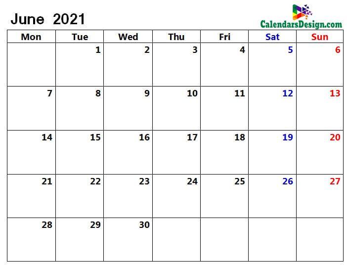 Jun 2021 calendar page