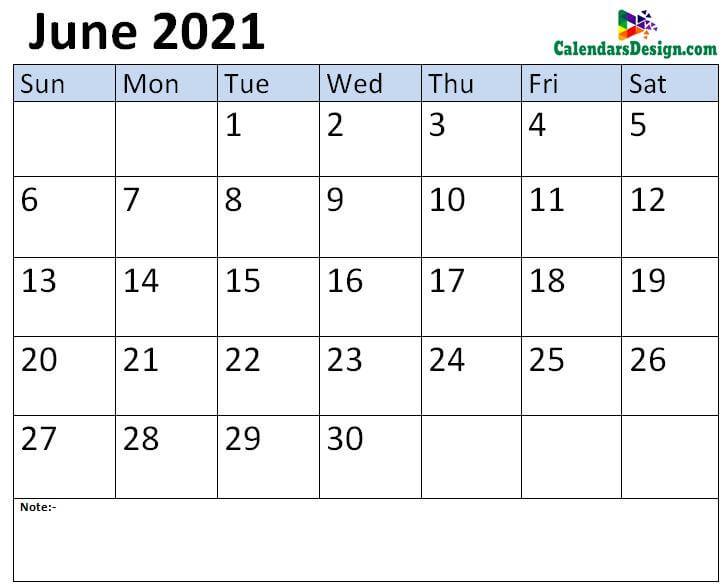 Jun 2021 calendar template