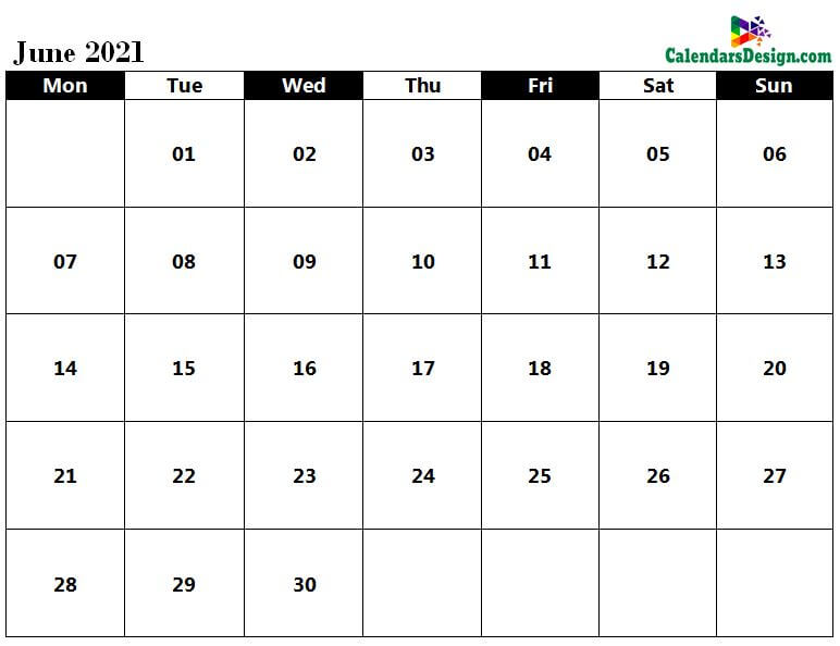 Jun 2021 calendar word doc