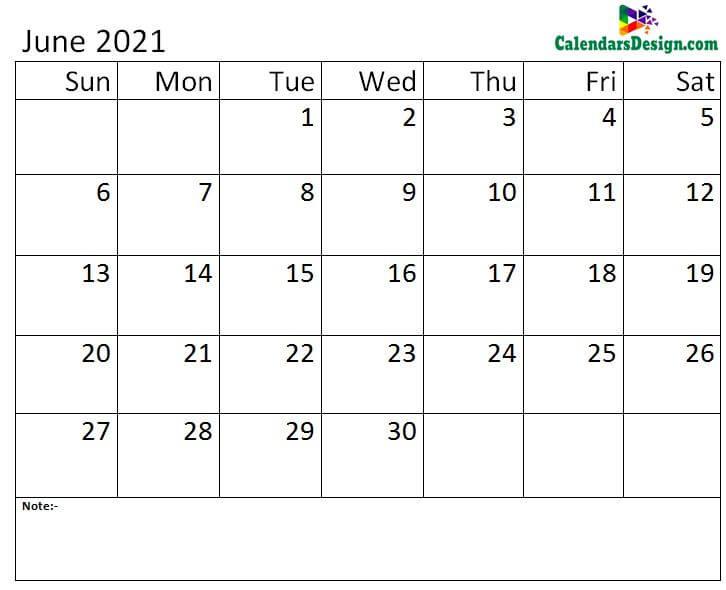Jun calendar 2021 monthly template