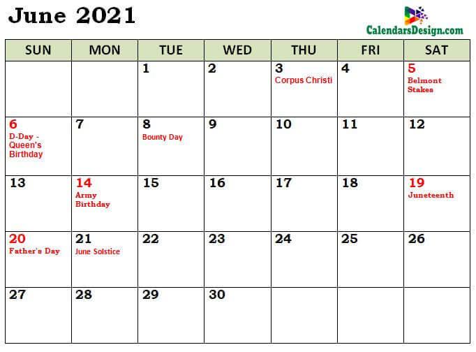 June 2021 Calendar Australia With Holidays