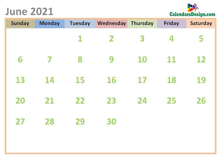 June 2021 Calendar Cute Designs