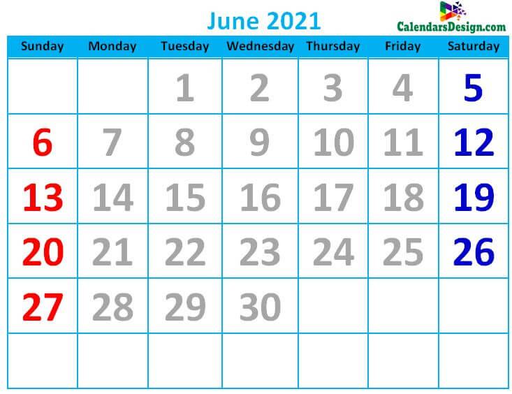 June 2021 Calendar Cute