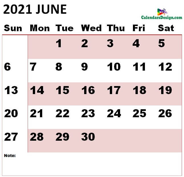 June 2021 Calendar Landscape