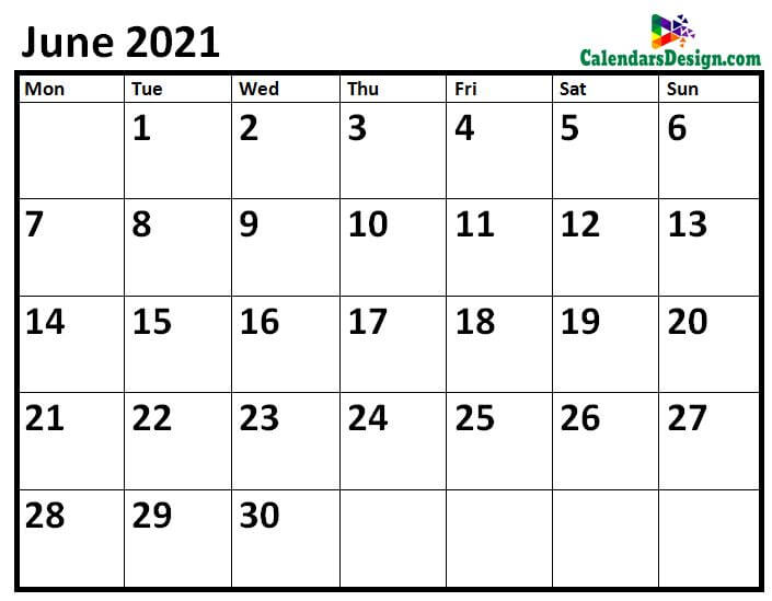 June 2021 Calendar Page