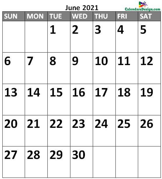 June 2021 Calendar Portrait