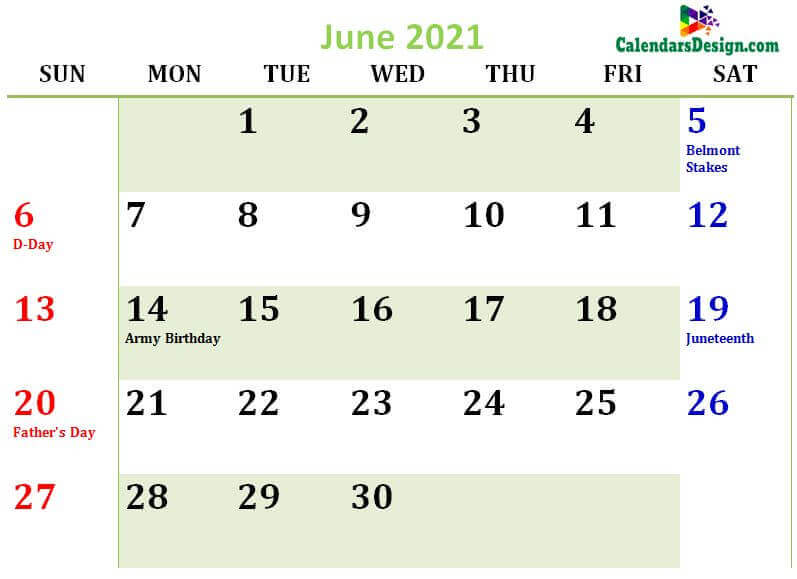 June 2021 Calendar USA With Holidays