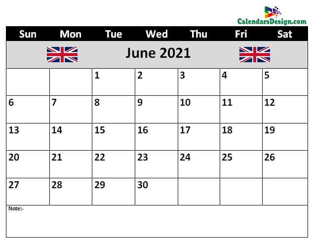June 2021 Calendar United Kingdom