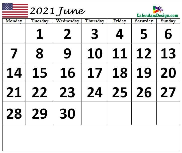 June 2021 Calendar United States