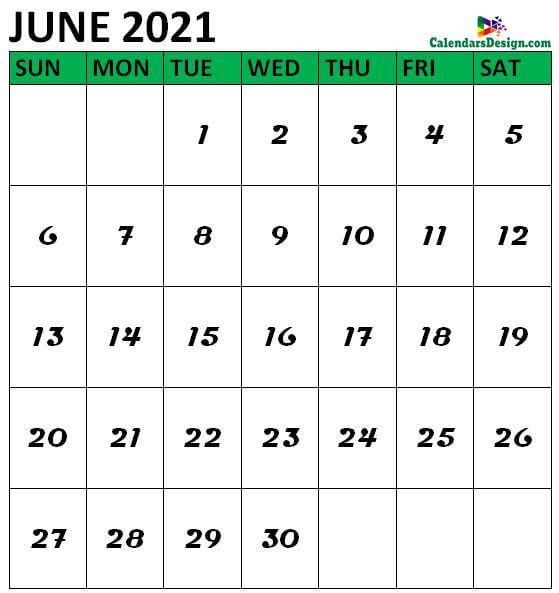 June 2021 Calendar Vertical