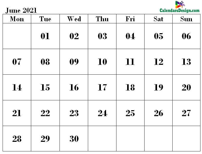 June 2021 Calendar Word Doc