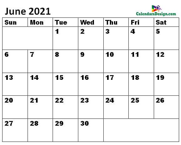 June 2021 Calendar doc