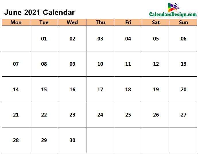 June 2021 Calendar in PDF