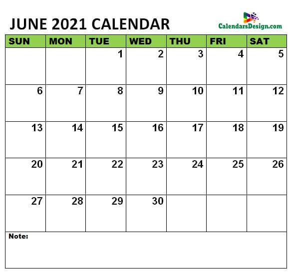 June 2021 Calendar letter