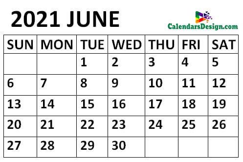 June 2021 Calendar small size