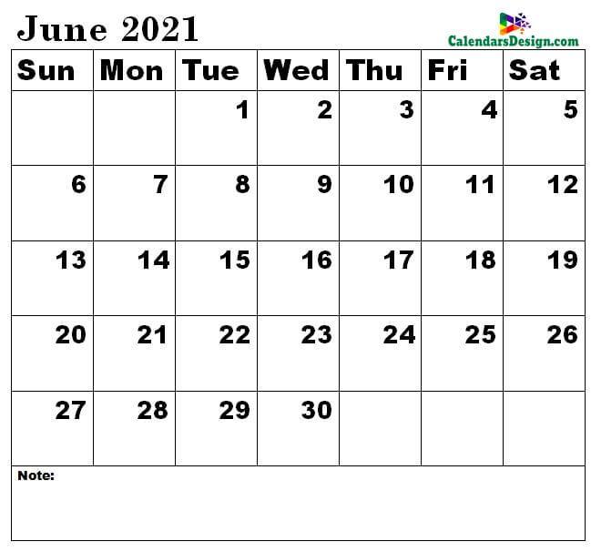June 2021 Calendar to edit
