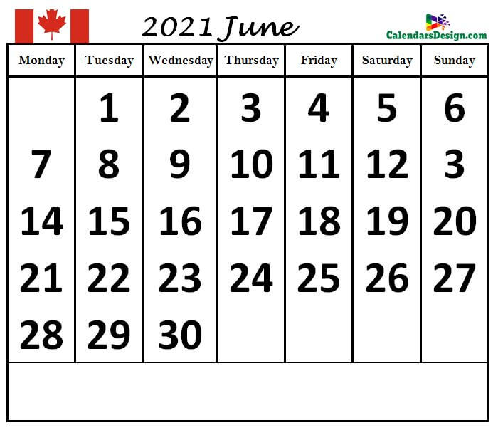 June 2021 Canada calendar