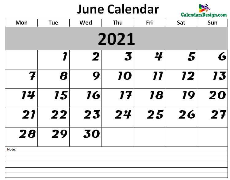 June 2021 Printable Blank Calendar