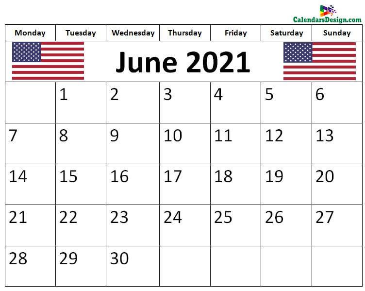 June 2021 USA Calendar