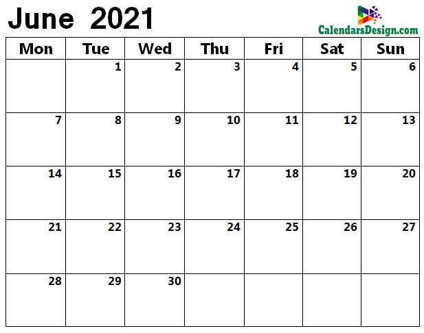 June 2021 a4 calendar
