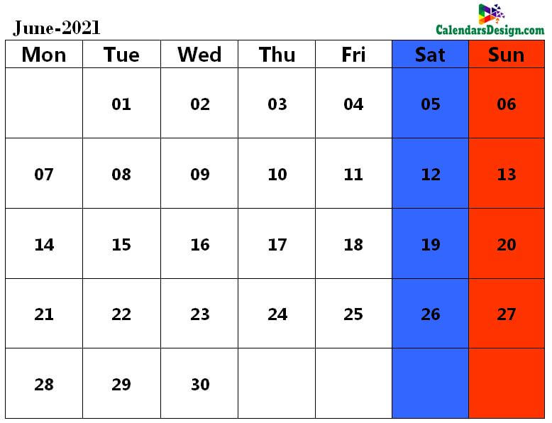 June 2021 calendar document