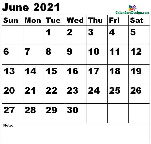 June 2021 calendar medium size