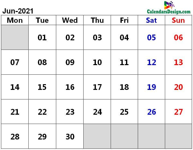June 2021 calendar pdf download