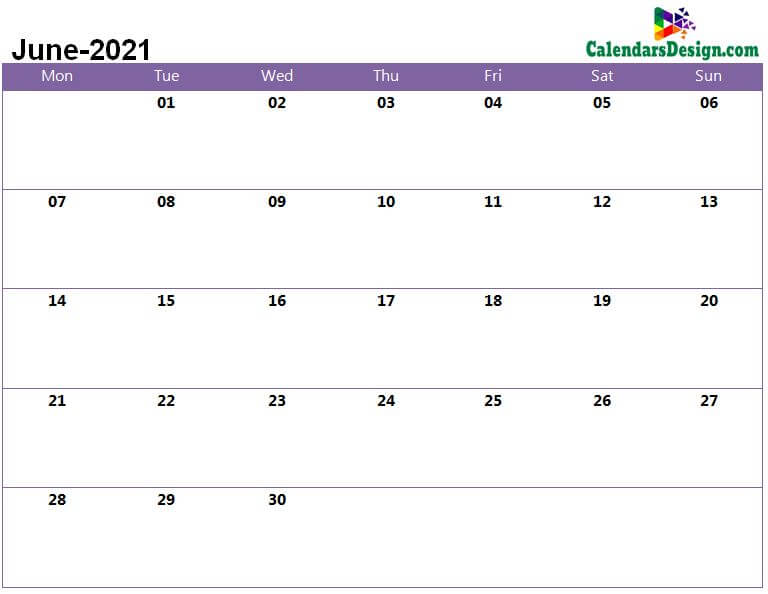 June 2021 calendar pdf to print