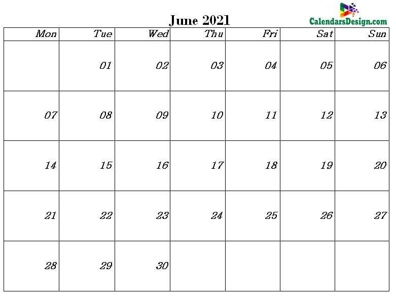 June 2021 calendar template in excel