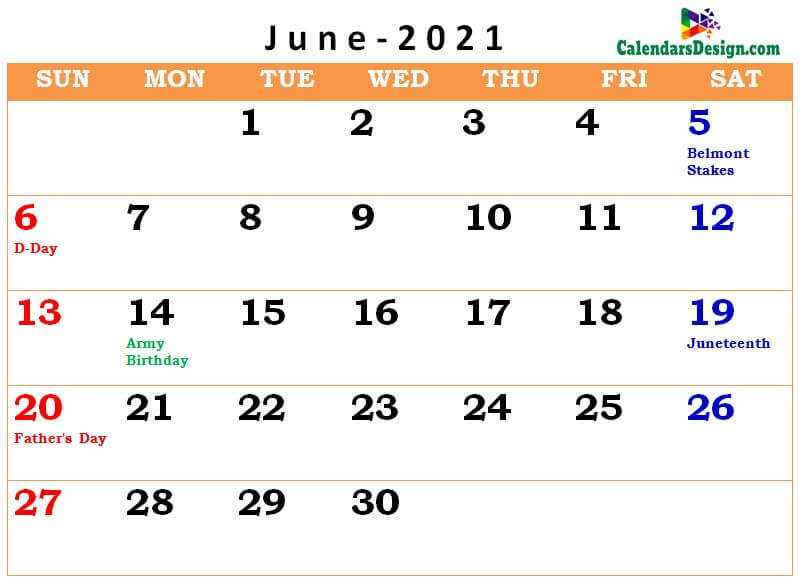 June 2021 calendar usa with holidays all countries
