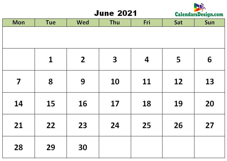 June 2021 calendar with large space