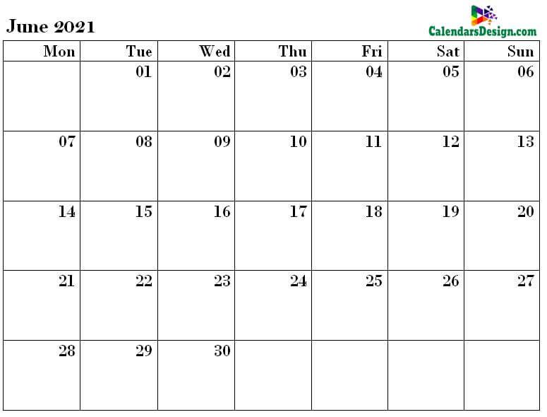 June 2021 excel calendar template