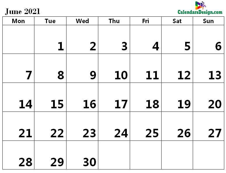 June 2021 excel calendar