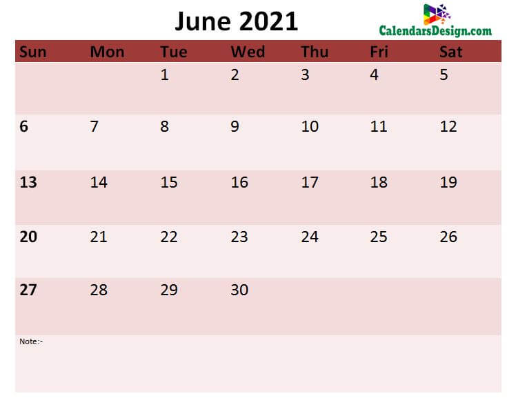 June 2021 month template