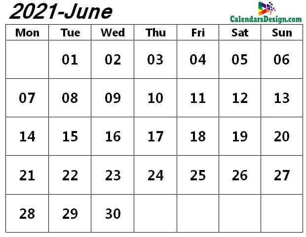 June 2021 page calendar